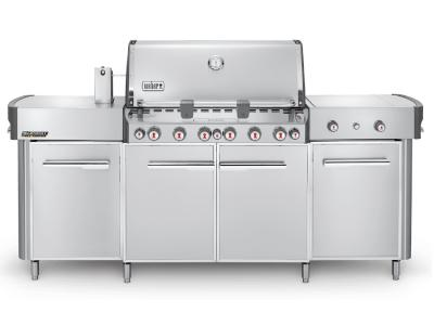 """91"""" Weber Summit Series 6 Burner Natural Gas Grill With Side Burner In Stainless Steel - Summit grill center NG (SS)"""