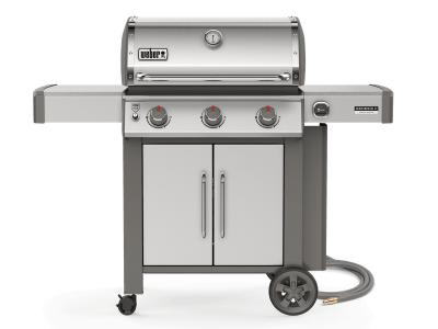 """59"""" Weber Genesis II Series 3 Burner Natural Gas Grill With Built-In Thermometer In Stainless Steel - Genesis II CSS-315 NG"""