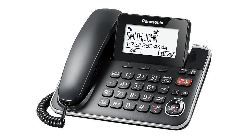 Panasonic KXTGF872B 2-in-1 Corded/Cordless Phone Black 2 Handsets ...