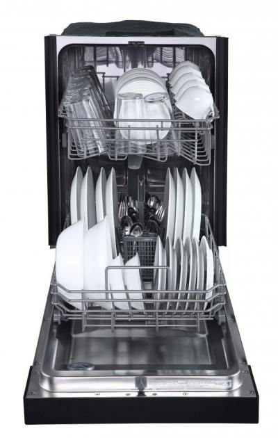"""18"""" Danby Built In Dishwasher with 8 Place Setting Capacity  in Black - DDW1804EB"""