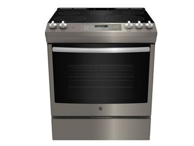 """30"""" GE Slide In Front Control Electric 5.3 cu ft Self-Cleaning Range - JCS840EMES"""