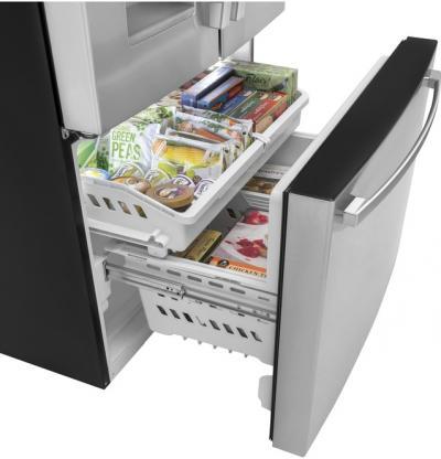 """36"""" GE 25.6 Cu. Ft. Fingerprint Resistant French-Door Refrigerator - GFE26JYMFS"""