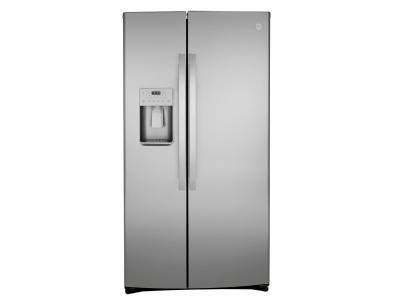 """36"""" GE 25.1 Cu. Ft. Side-By-Side Refrigerator In Stainless Steel - GSS25IYNFS"""