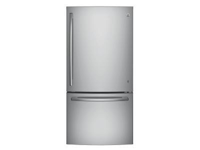 "33"" GE 24.9 Cu. Ft. Bottom-Freezer Refrigerator with Factory Installed Ice Maker - GDE25ESKSS"