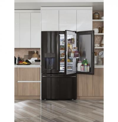 "36"" GE Profile 22.2 Cu. Ft. Counter-Depth French-Door Refrigerator With Door In Door And Hands-Free Autofill - PYD22KBLTS"
