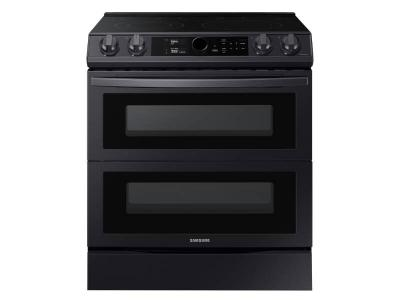 """30"""" Samsung 6.3 Cu.Ft. Electric Range With Flex Duo And Air Fry In Black Stainless Steel - NE63T8751SG"""