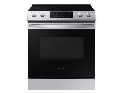 """30"""" Samsung 6.3 Cu. Ft. Electric Range With Slide-in Design In Stainless Steel - NE63T8111SS"""